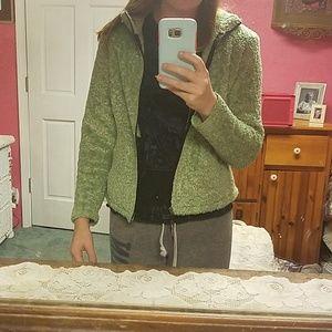 Green fluffy jacket